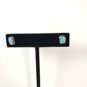 Blue fire opal studs on sterling 925 setting